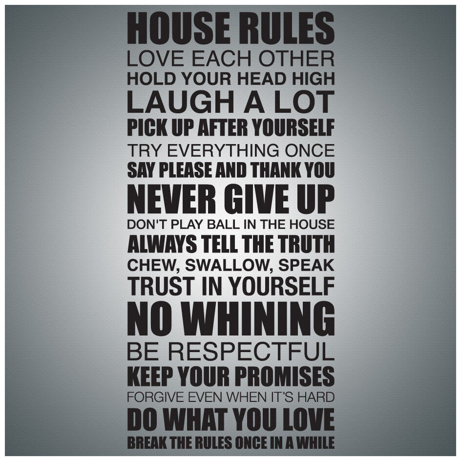 House Rules Wall Quote Decal Vinyl Lettering Saying Ebay