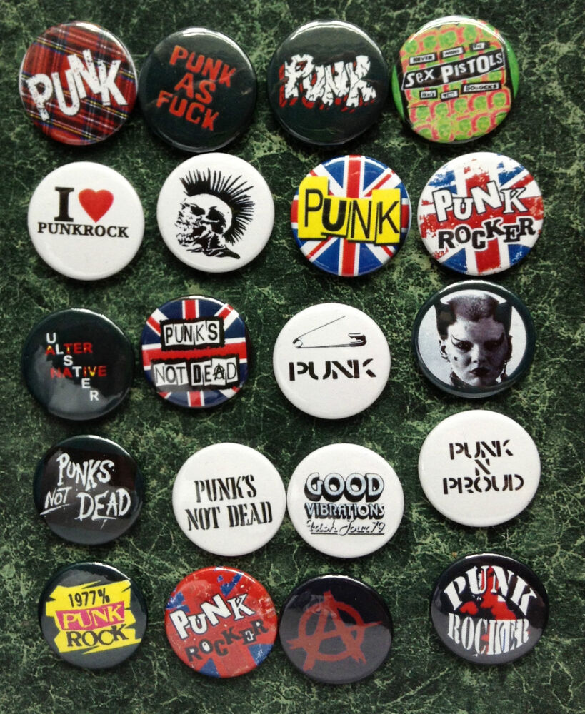 punk collection 20 button badges 1inch 25mm new wave. Black Bedroom Furniture Sets. Home Design Ideas