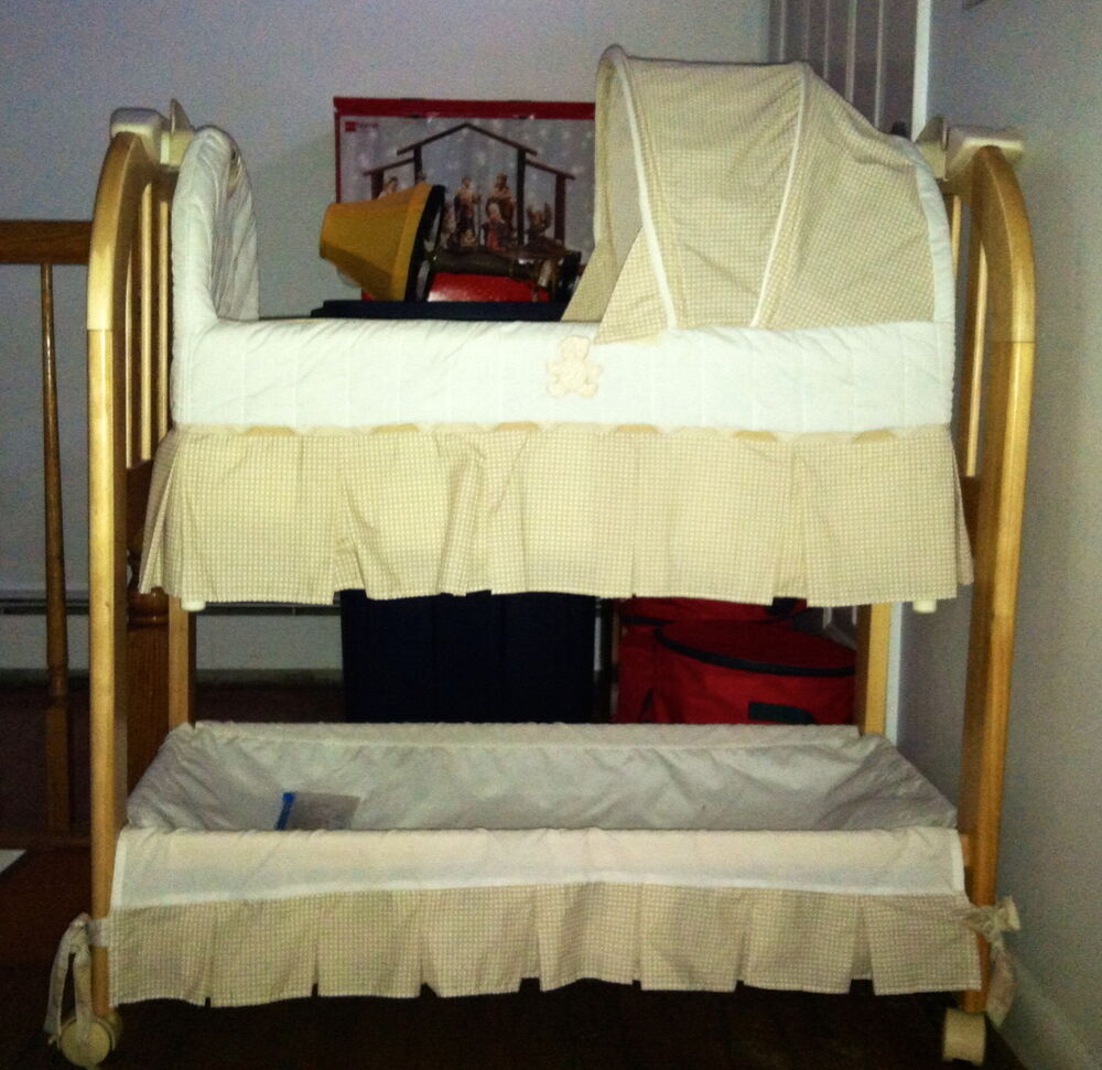 Eddie Bauer Bassinet Infant Baby Cradle Oak Wood Beige Ebay