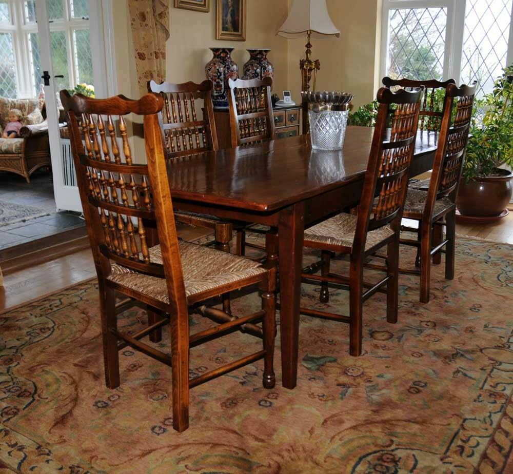 Oak kitchen dining set refectory table spindleback chairs for Oak dining table set