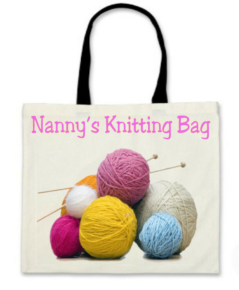 Personalised Knitting Bag With Black Handles Lovely Gift