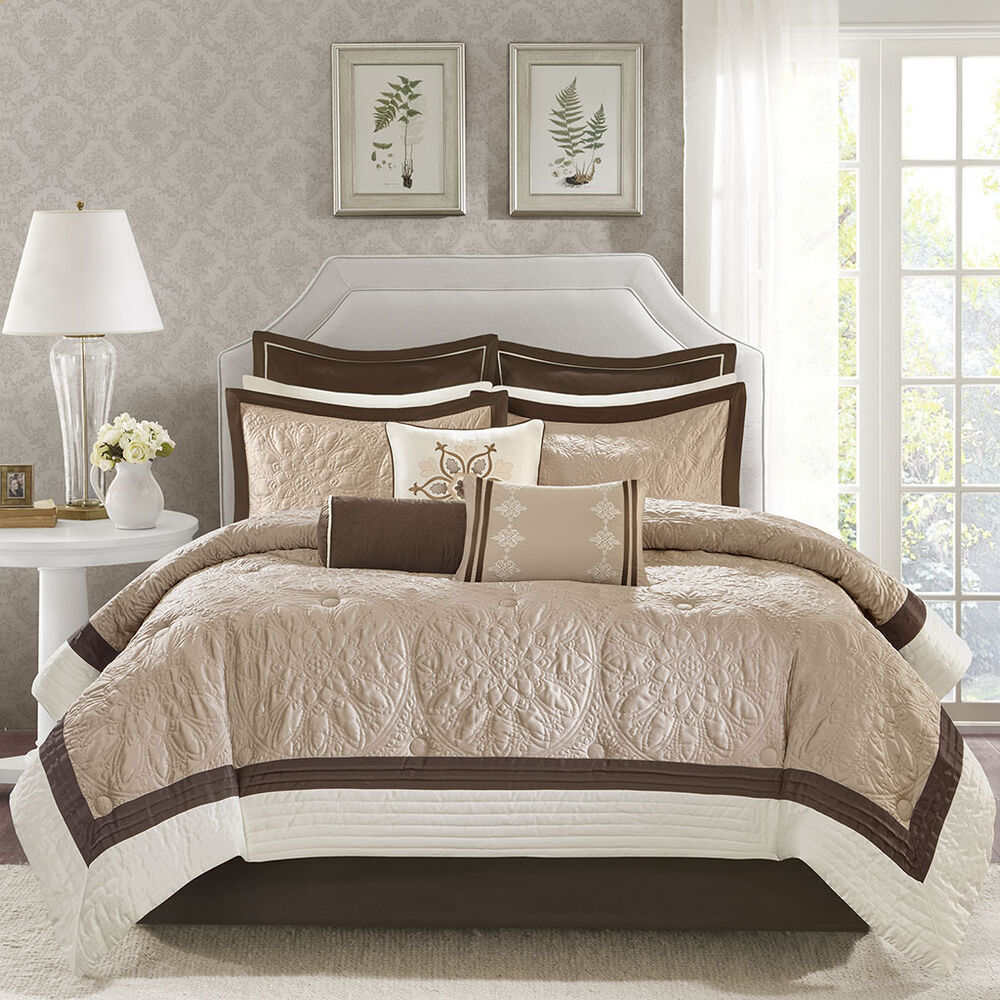 Beautiful Modern Elegant Brown Beige Taupe Ivory Comforter