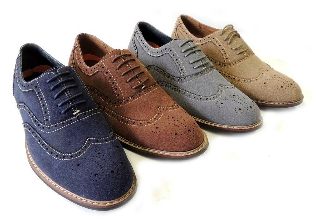 new fashion mens lace up wing tip oxfords faux suede