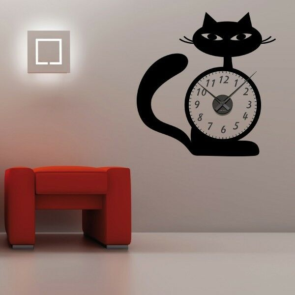 sticker mural horloge g ante chat design avec m canisme aiguilles ebay. Black Bedroom Furniture Sets. Home Design Ideas