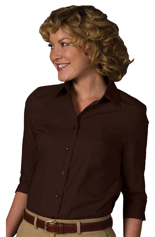 Edwards garment women 39 s 3 4 sleeve point collar button for Women s button down shirts extra long