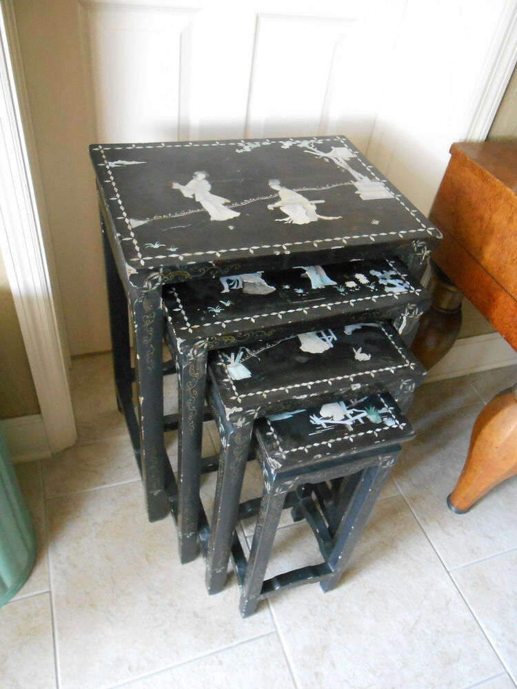 Antique Nesting Tables ~ Antique laquered nesting tables set inlaid with mother