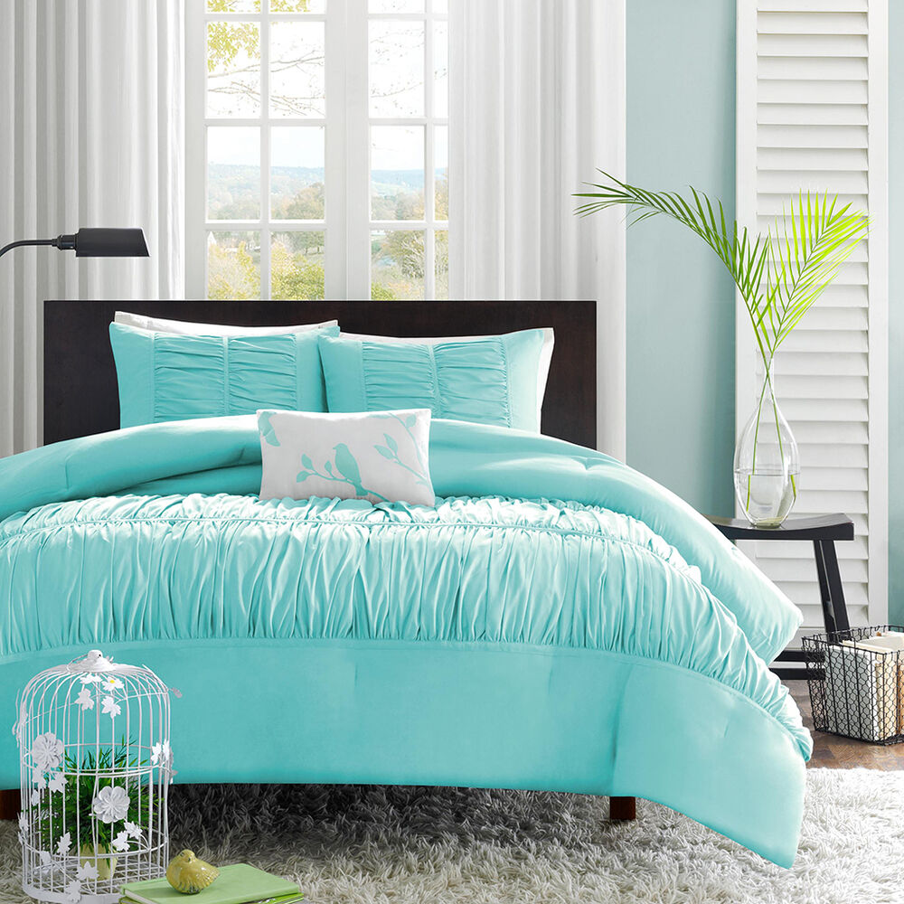CHIC TEAL BLUE RUFFLED RUCHED GIRLS FORTER SET & PILLOW
