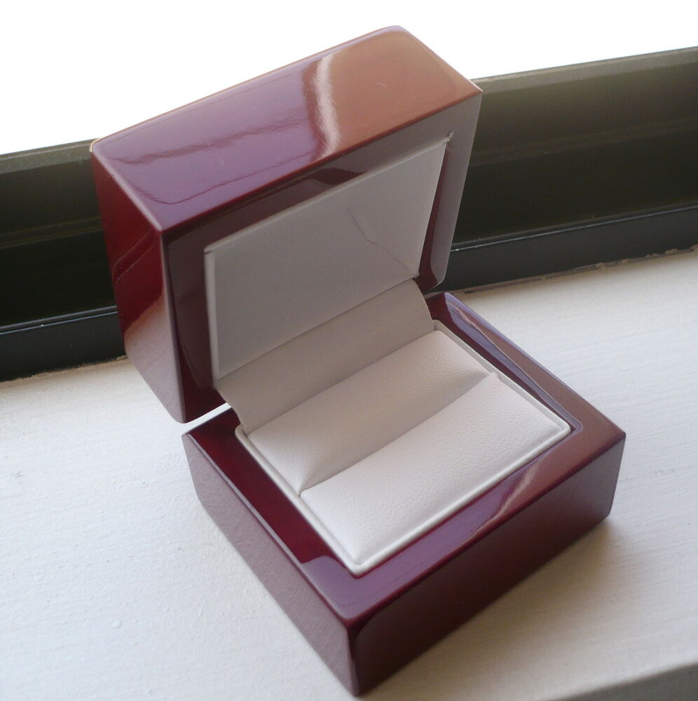 WOMEN'S MEN'S CHERRY WOOD RING BOX for engagement or wedding ring ...
