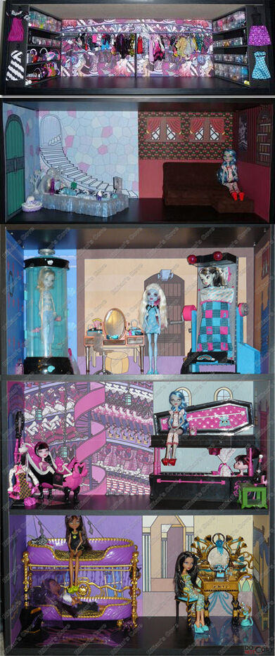 monster high dead tired bedroom bookcase kit w abbey 39 s room doll house bed ebay. Black Bedroom Furniture Sets. Home Design Ideas