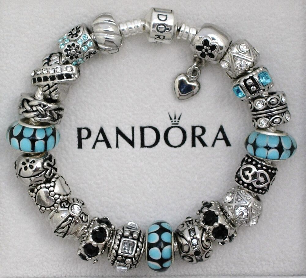 New Charm Bracelets: Authentic Pandora Charm Bracelet 925 Sterling Silver Blue