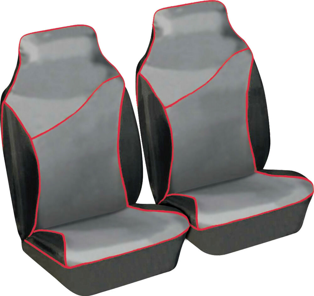 pair of heavy duty waterproof black grey red car protection front seat covers ebay. Black Bedroom Furniture Sets. Home Design Ideas