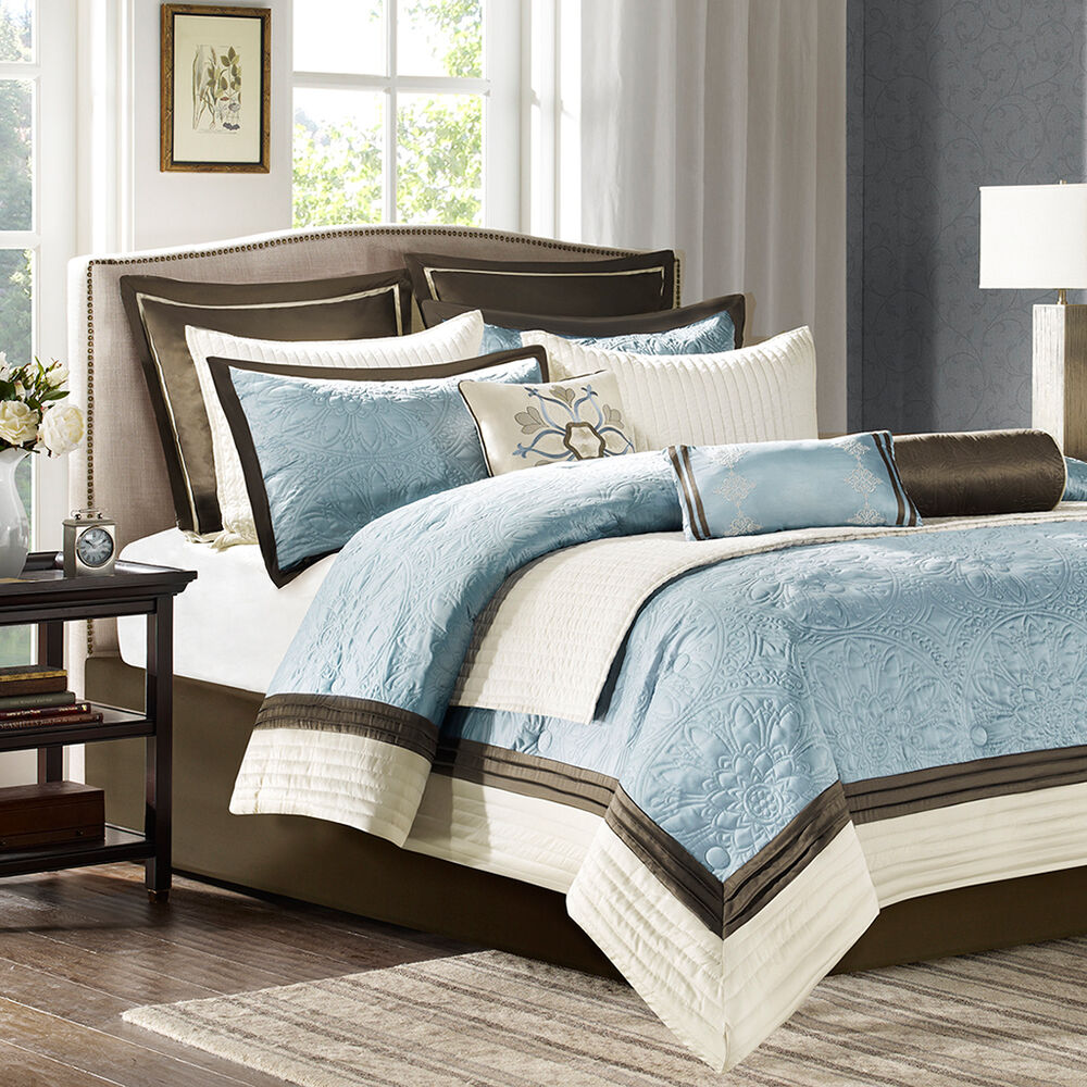 Beautiful 8 Pc Modern Light Blue Brown Ivory Comforter Set