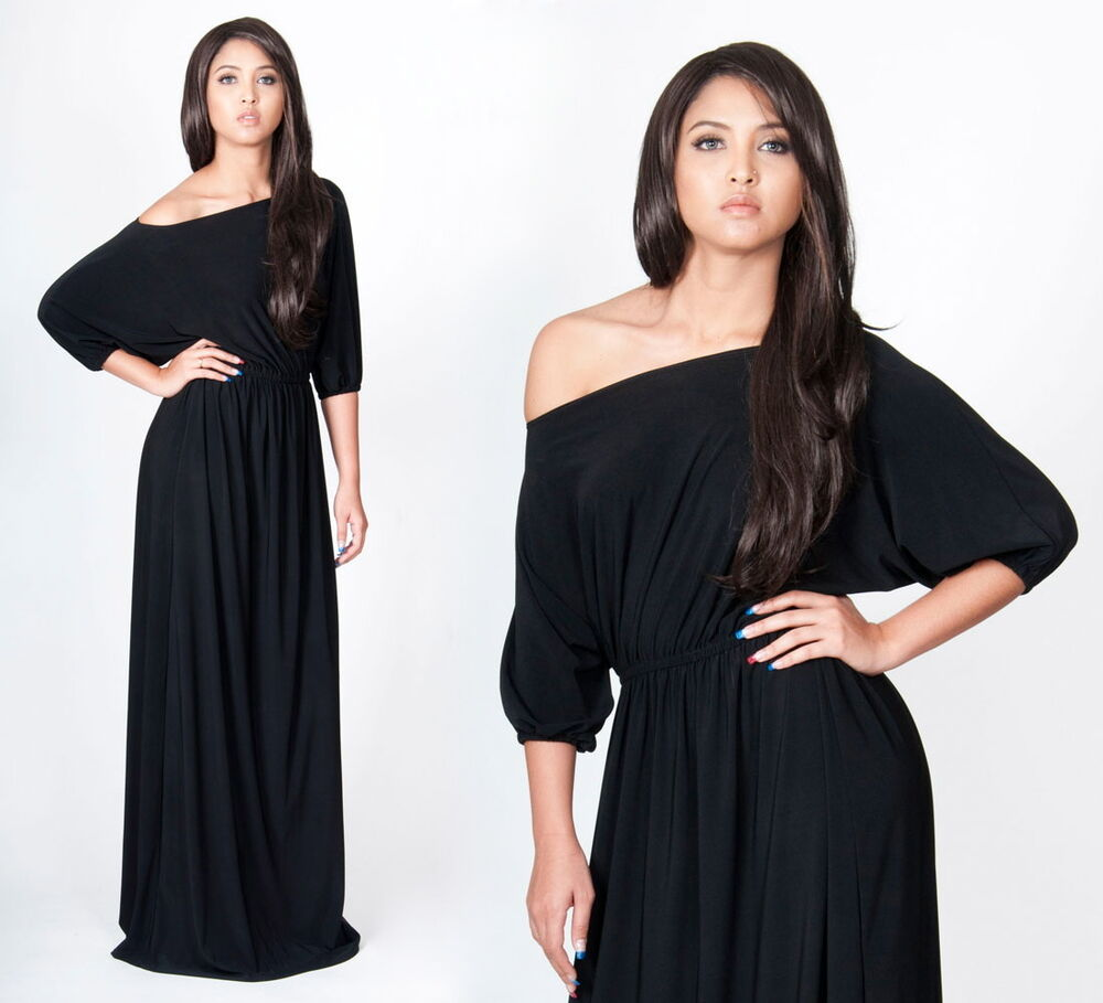 NEW Womens Black Slimming One Shoulder Plus Size Long Evening Maxi ...