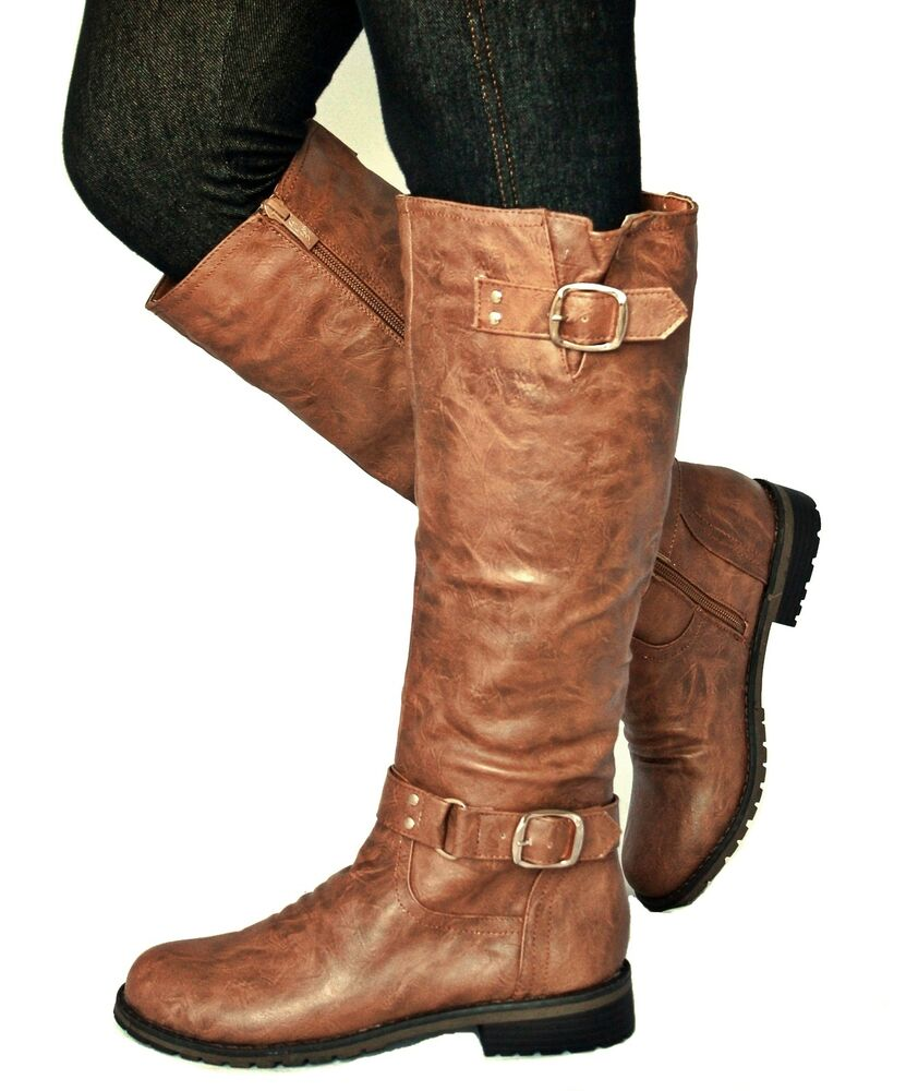 new womens ed07 cognac buckle knee high boots