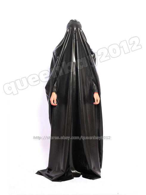 100 Latex Rubber Gummi Robe Catsuit Gown Suit Hood Mask