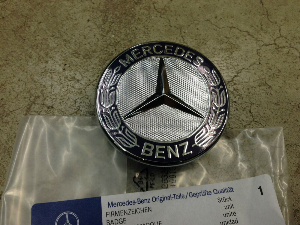 genuine oem mercedes benz blue flat laurel wreath hood