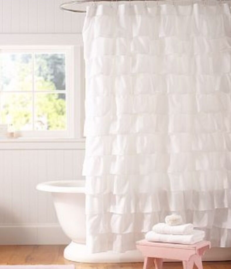 Nwt Pottery Barn Kids Ruffle Shower Curtain Girls White Ebay