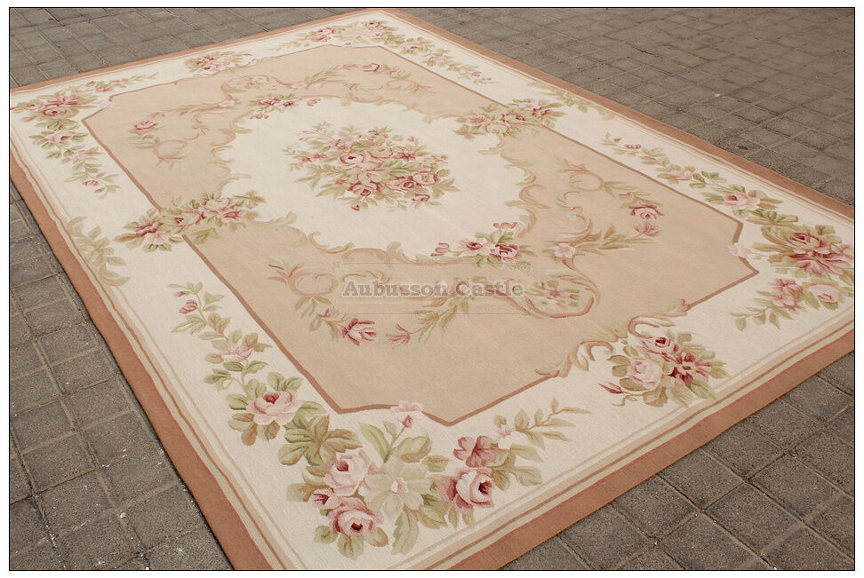 Shabby french chic aubusson rug light pink ivory cream for Deco shabby chic pas cher