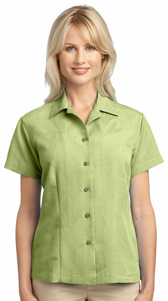 Port authority women 39 s casual short sleeve soil release for Women s long sleeve camp shirts
