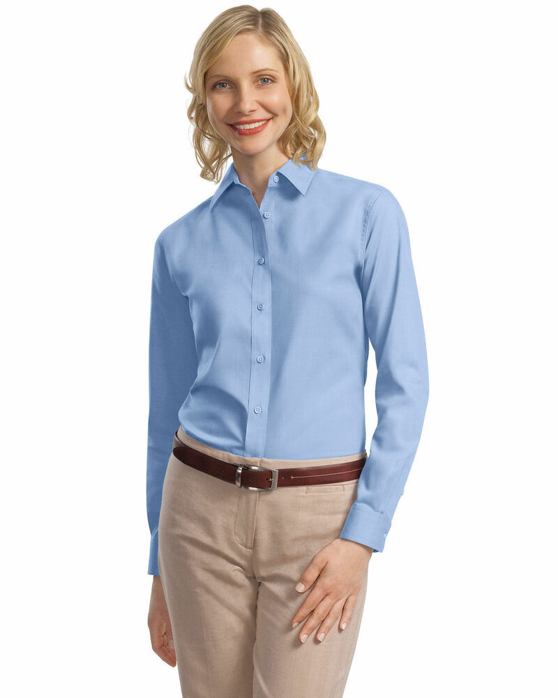 Port authority women 39 s professional open collar long for Long sleeve open shirt