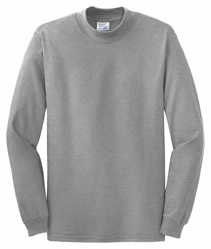 Port company by hanes mens new 100 cotton long sleeve for Turtleneck under t shirt