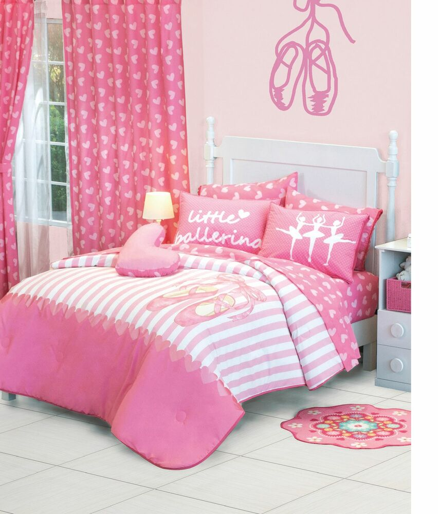 New Girls Ballet Ballerina Pink White Comforter Bedding