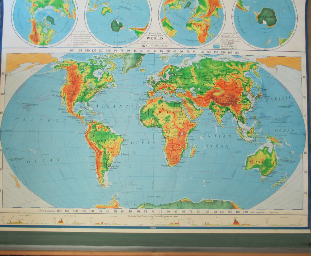 Roll Down World Map.Vintage School Pull Down World Map A J Nystrom Co No Pr 98 63