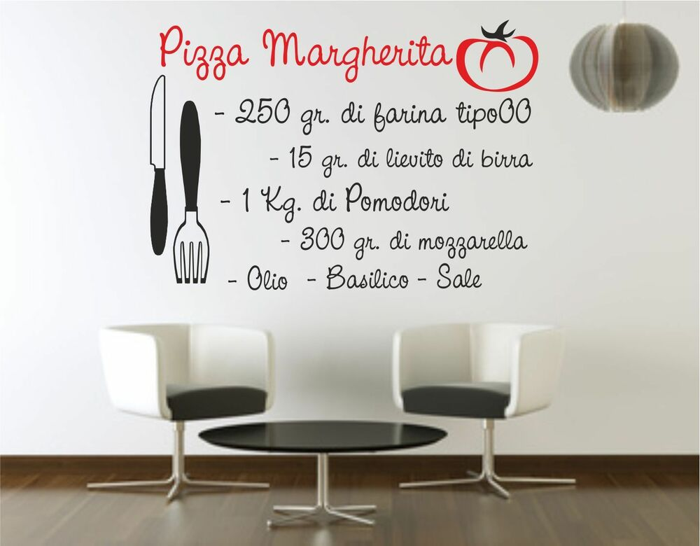 Wall sticker stickers adesivo murale frase ricetta pizza for Stickers cucina