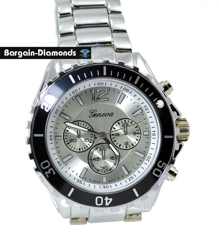 Mens heavy steel sports business watch black bezel bracelet big designer style ebay for Men decagonal bezel bracelet