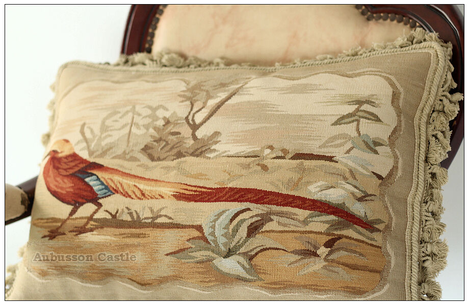22 Quot Pheasant Ii Aubusson Tapestry Pillow Cover 600 Chair