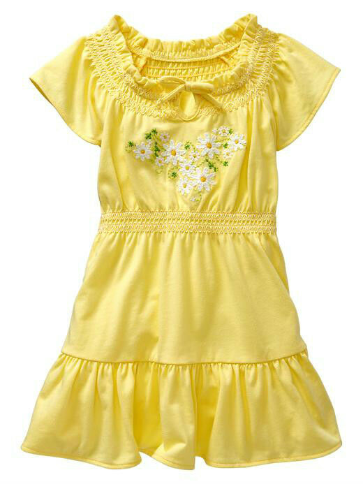 Nwt baby gap embroidered daisy dress ruffle trim flutter