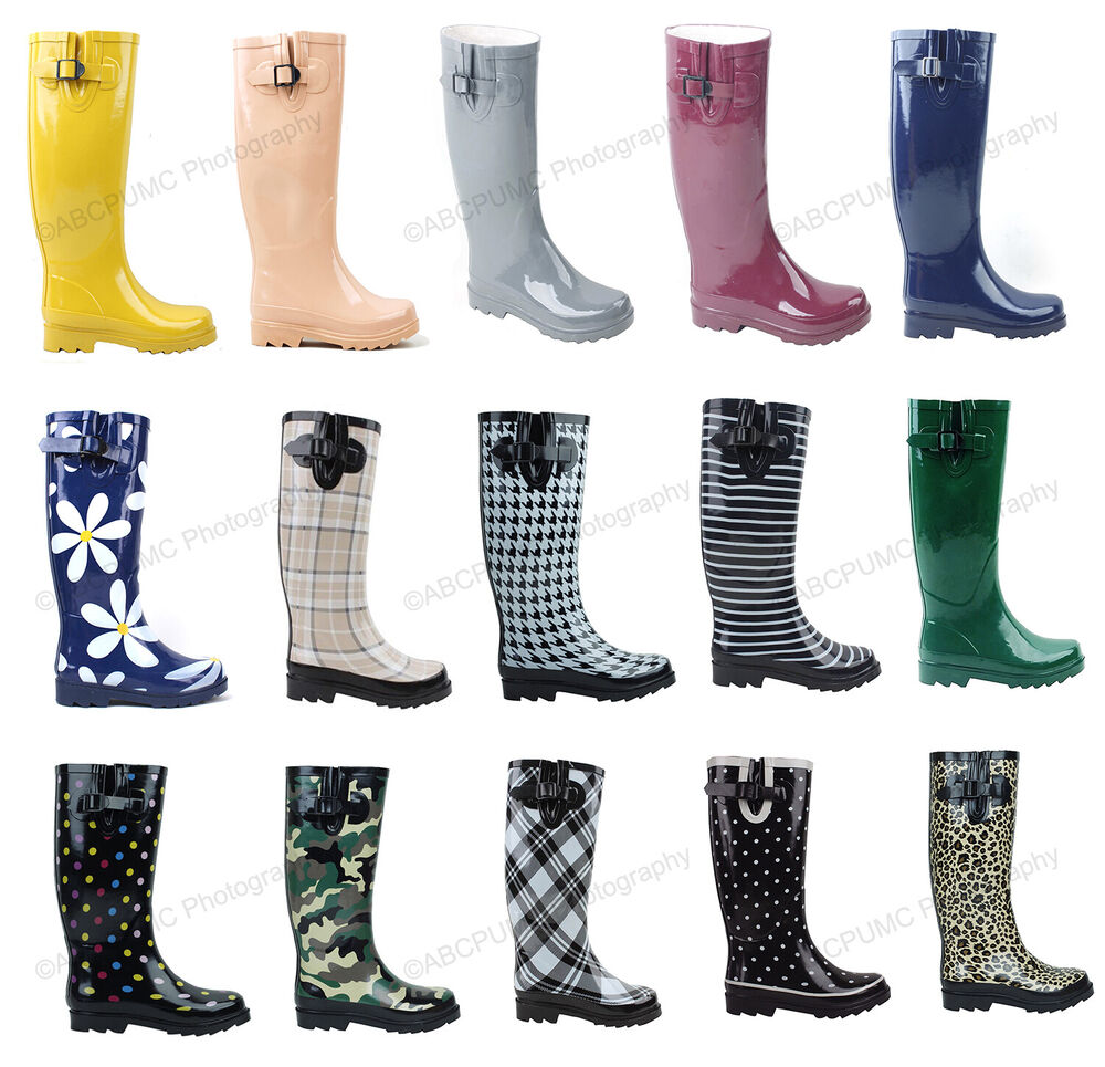 New Womens Flat Wellies Mid Calf Rubber Rain &ampamp Snow Boots Rain