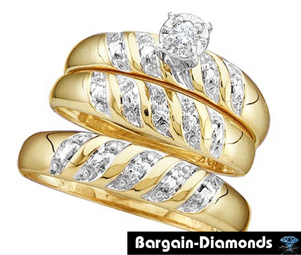 diamond 07 carat 3 band 14k gold wedding ring set bridal