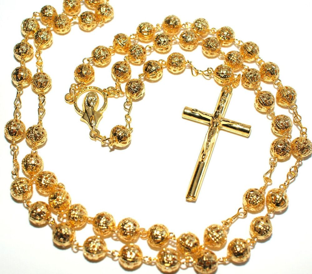 Rosary Necklace Gold Plated Filigree Beads Rosary 22