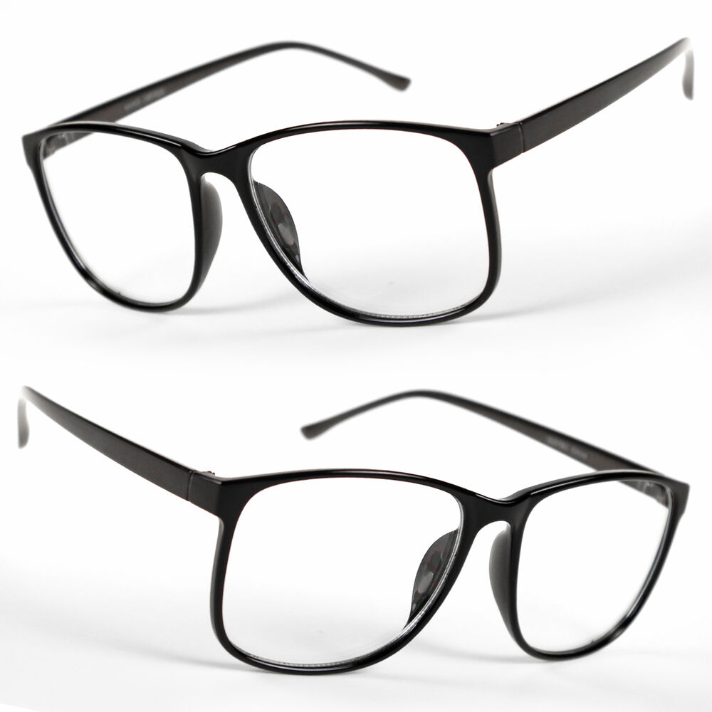 Big Black Frame Nerd Glasses : Large Oversized Wayfarer Glasses Clear Lens Thin Frame ...