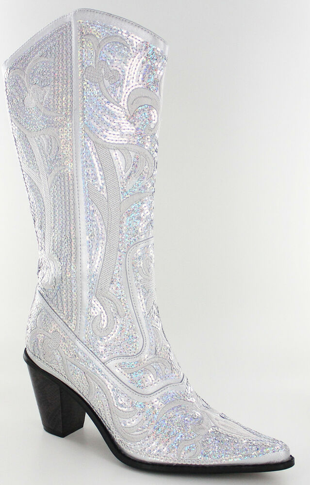 New Helens Heart Silver Sequin Western Boots Size 5 6 7