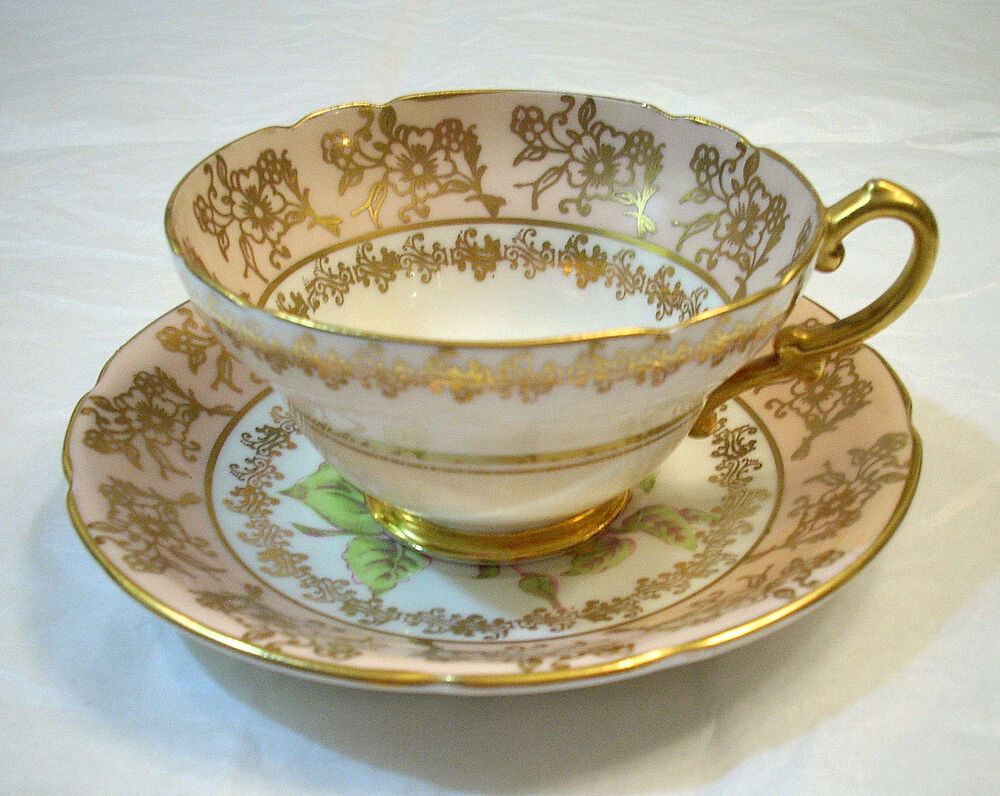 Stanley Fine Bone China England Peach Amp Gold Color Yellow