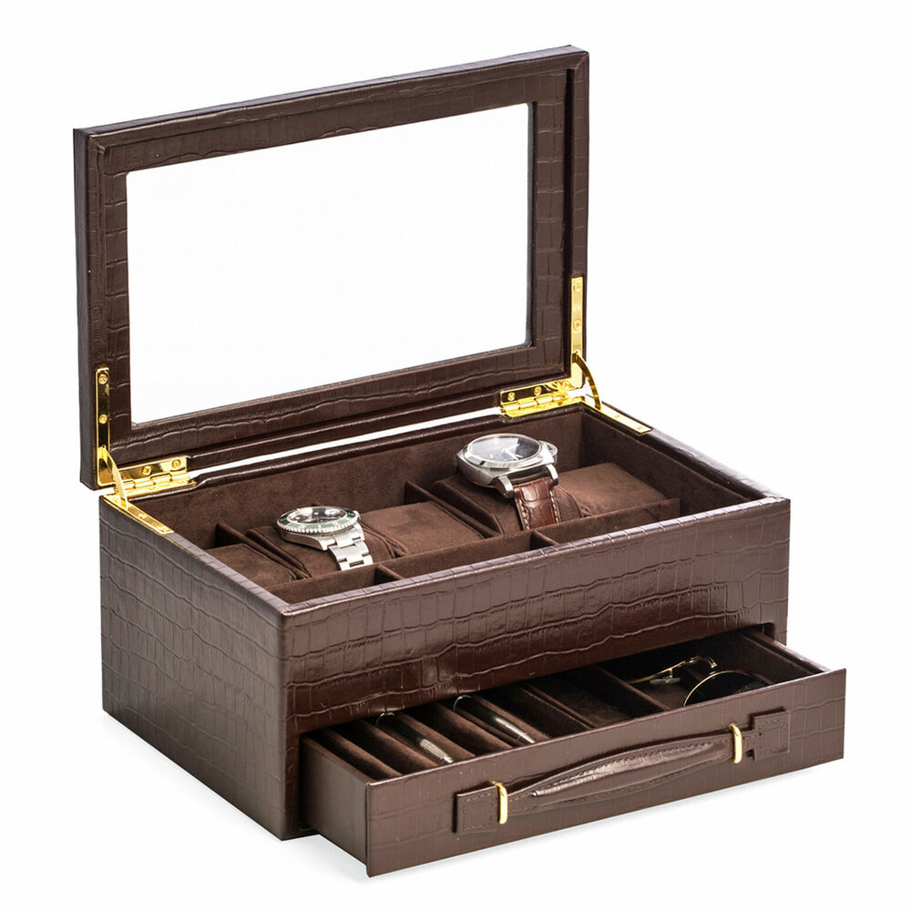 mens gifts brown croco leather watch box valet box