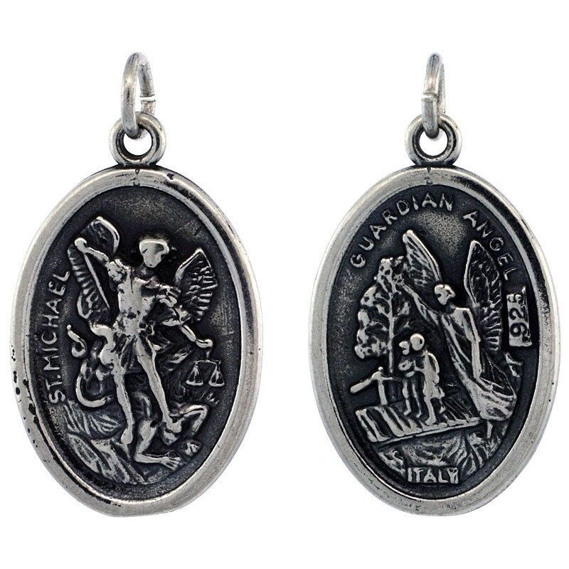 925 Sterling Silver St Michael The Archangel Medal