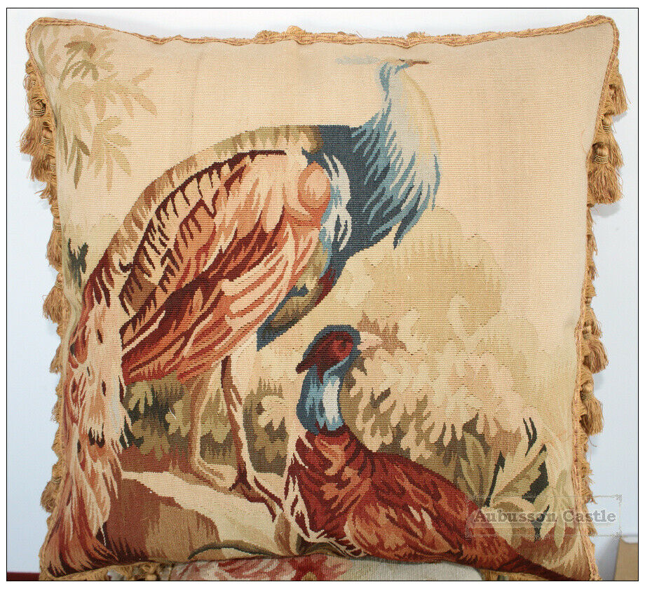 Decorative Tapestry Throw Pillows : PEACOCK Aubusson Tapestry Throw Pillow WOOL WOVEN Big Decorative Cushion $700 eBay