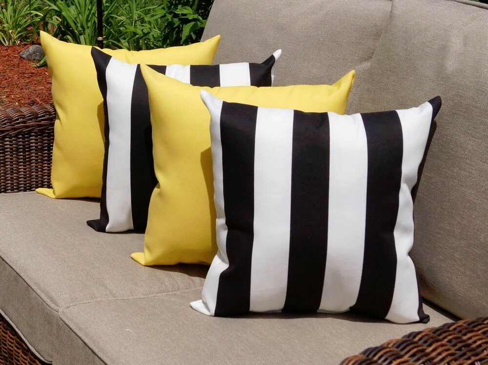 Throw Pillows Set Of 4 : Set of 4 Black and White Stripe and Solid Yellow Outdoor Decorative Pillows eBay