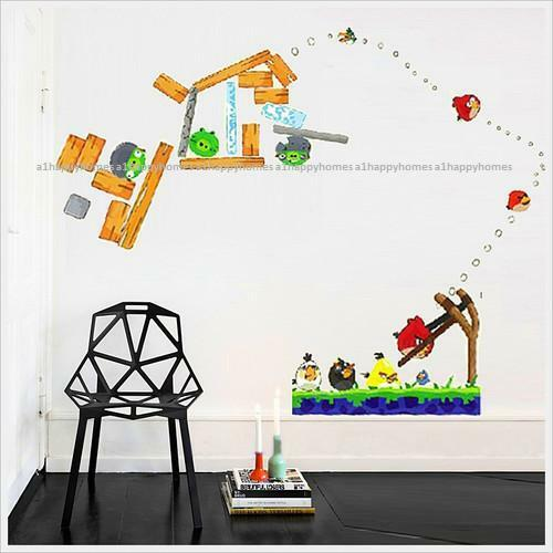 angry birds reusable wall stickers kids nursery boys reusable wall decal monsters wall decal reusable