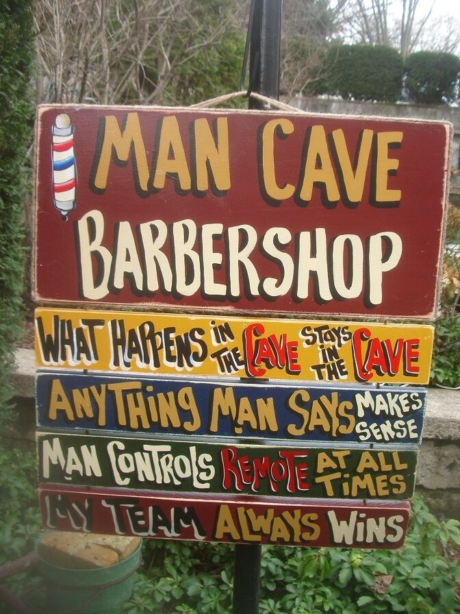 Man Cave Signs Personalized Uk : Barber shop man cave rules country primitive custom