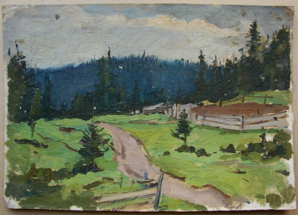 Charles Silberman - 1950s Landscape Study, Mixed Media ...  |1950s American Realism Art Landscapes