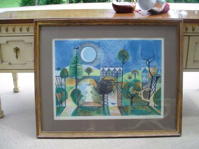 Listed Artist Richard Slater Signed Lithograph Mid Century