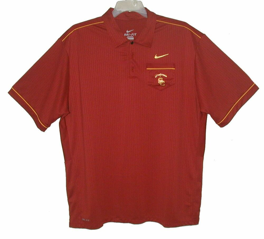 Men 39 s polo golf shirt sc trojans by nike southern for Men s polyester polo shirts