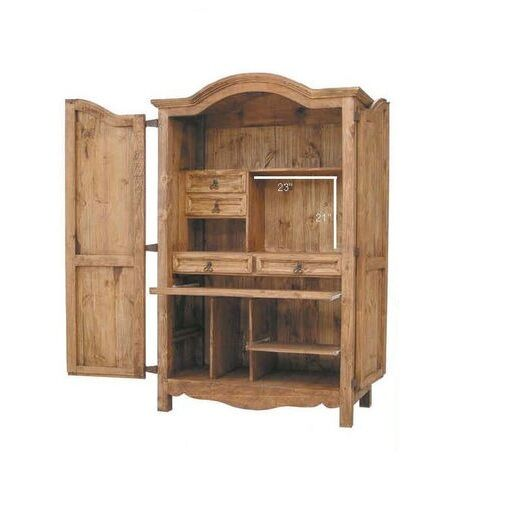 Western Rustic Computer Armoire Real Wood Desk Cabin Lodge