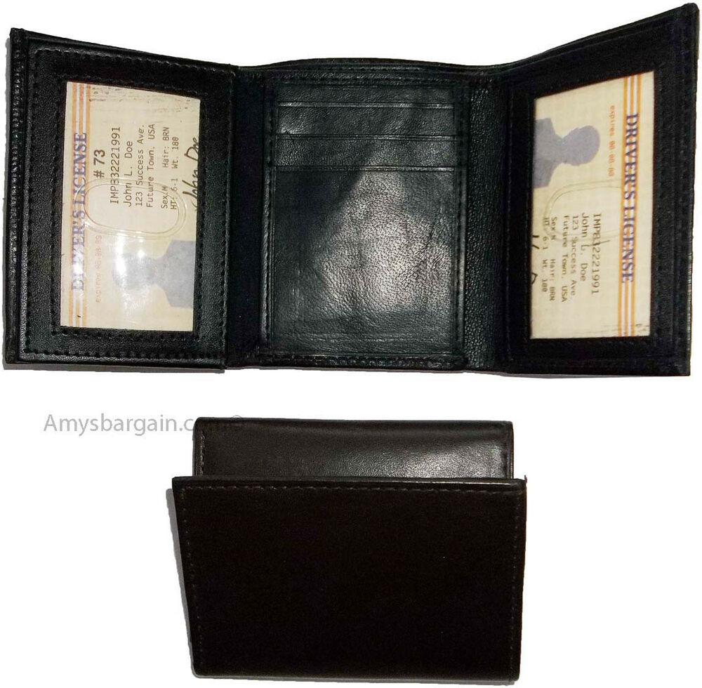 New trifold leather man s wallet 9 credit card space 2 id for 2 id window wallet
