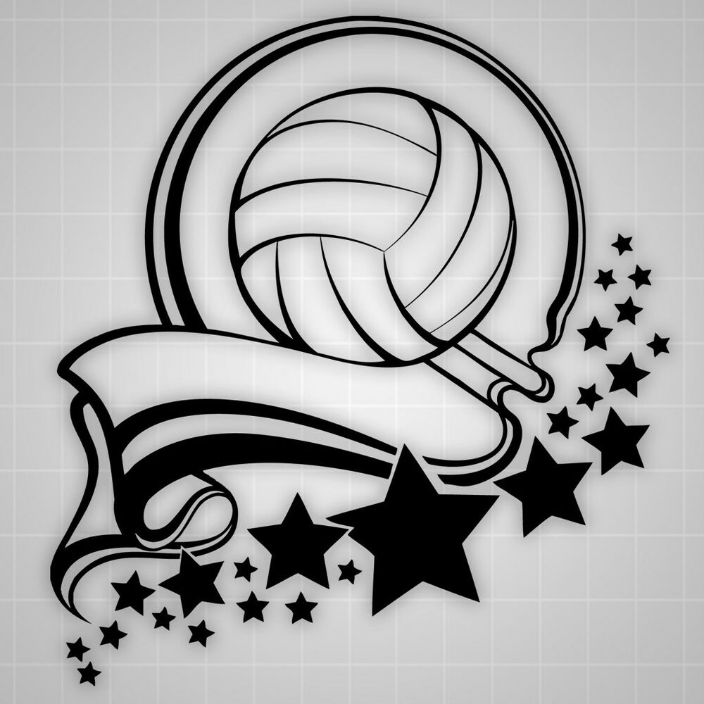 Volleyball Amp Stars Wall Decal Volleyball Sticker