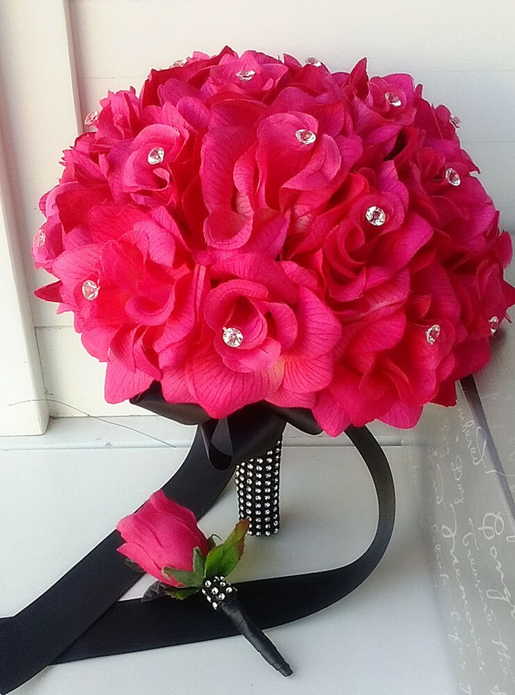 2pc bouquet boutonniere hot pink black wedding bridal 25th for Pink roses flower arrangements